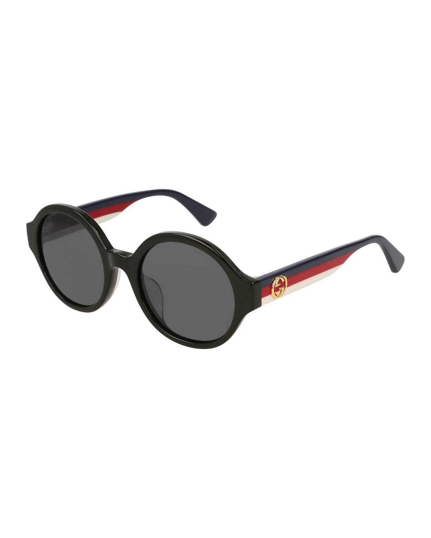 8aa80a403e3 Round Striped-Arm Sunglasses, Black