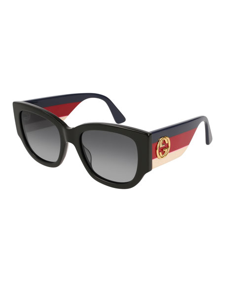 Oversized Rectangle Sunglasses w/ Striped Arms, Black