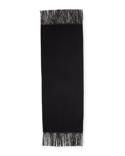 Cashmere Scarf w/ Leather Fringe