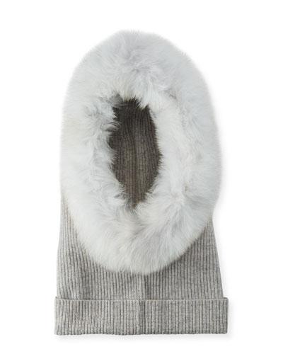 Paulina Cashmere Fur-Trim Hood