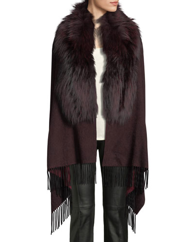 Wool Fringe-Ends Stole w/ Fur Trim