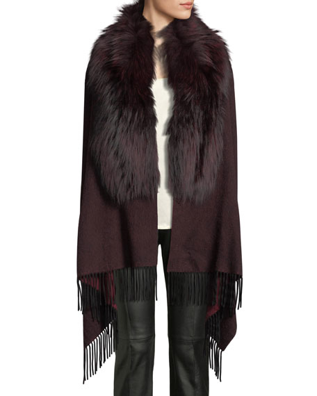 POLOGEORGIS Wool Fringe-Ends Stole W/ Fur Trim in Wine