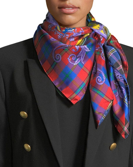 Versace Collection The Clans Square Silk Scarf
