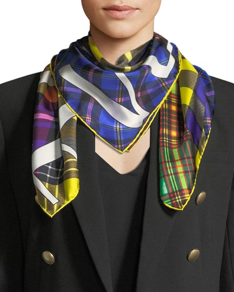 Versace Collection Tartan Plaid Patchwork Silk Scarf