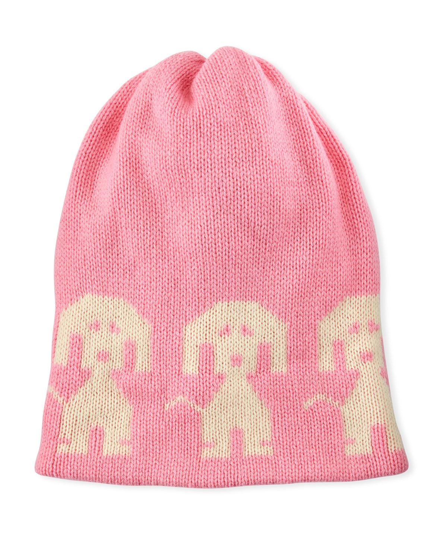 Moncler Grele Wool Cashmere Dog Intarsia Beanie Hat