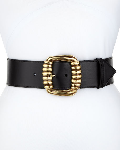 Calf Leather Belt with Golden Buckle
