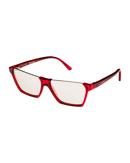 Semi-Rimless Rectangular Mirrored Sunglasses