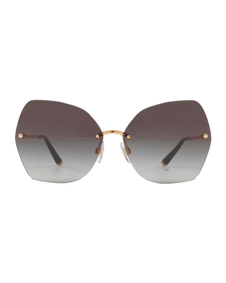 Rimless Gradient Butterfly Sunglasses