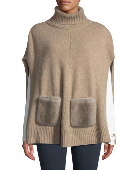 CAROLYN ROWAN Cashmere Turtleneck Poncho W/ Fur Pockets in Camel