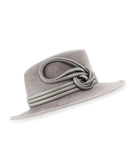 Philip Treacy Raiders Trilby Velour Hat w/ Leather