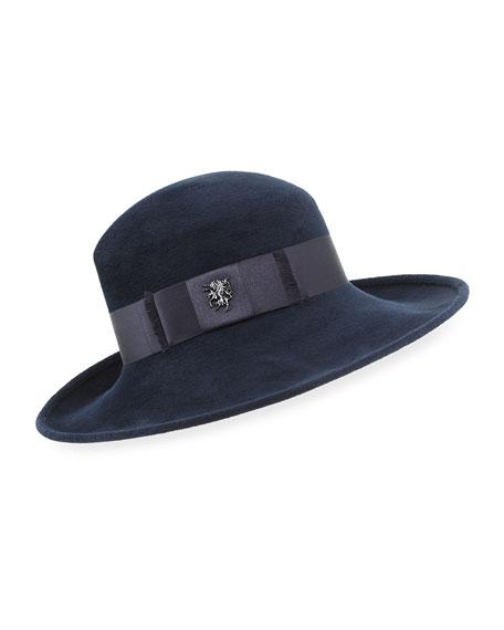 Philip Treacy Velour Fedora Hat w/ Satin Hat