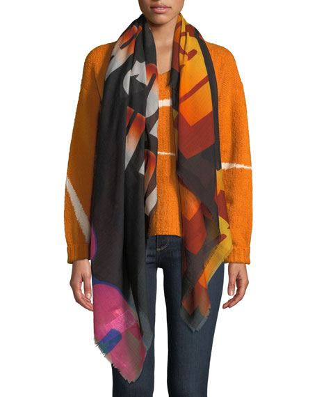 Stella McCartney Gradient Wool-Silk Eyelash-Fringe Scarf
