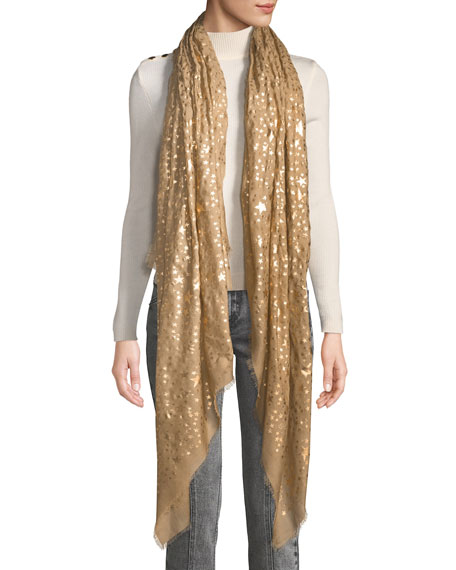 Stella McCartney Glitter Star Print Fringe Silk Scarf