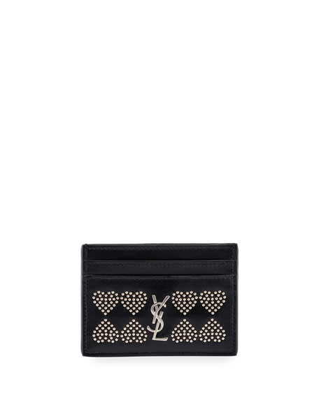 Monogram YSL Micro-Stud Hearts Card Case