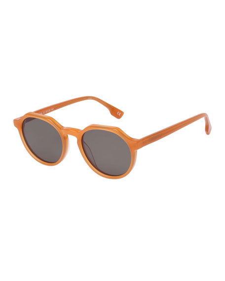 Le Specs Luxe Bang Round Plastic Keyhole Sunglasses