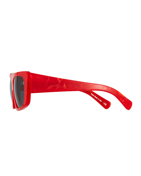 Rectangle Monochromatic Acetate Sunglasses