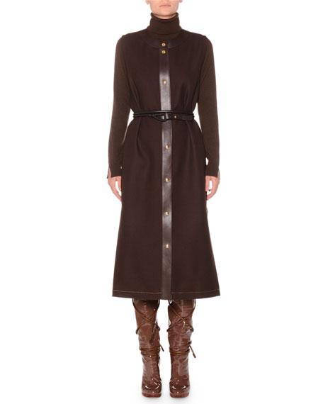 Thin Calfskin Leather Belt w/ Pushpin Fasten