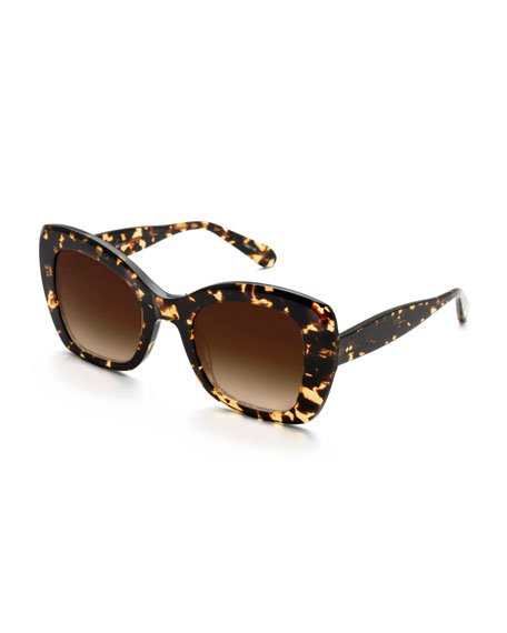 KREWE Felicity Acetate Two-Tone Butterfly Sunglasses