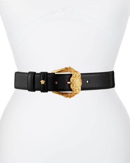 Versace Leather Barocco Buckle Belt