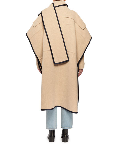 Wool-Blend Cape Coat w/ Attached Scarf & Satin Trim