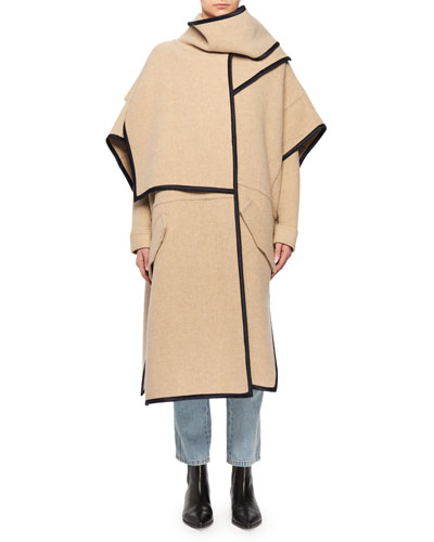 Wool-Blend Cape Coat w/ Attached Scarf & Satin Trim