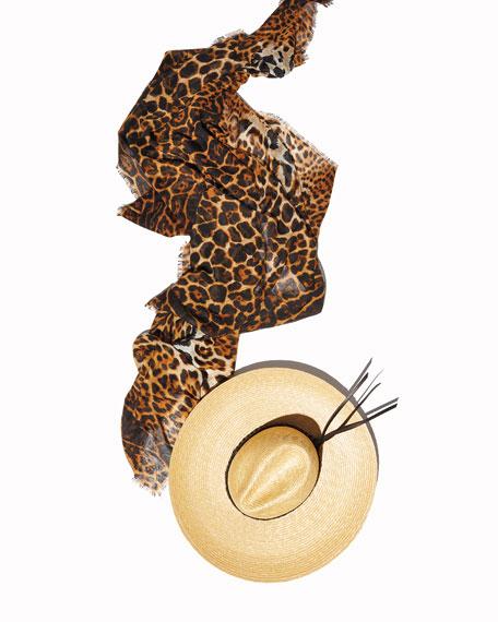 Saint Laurent Leopard Pattern Fringe Scarf