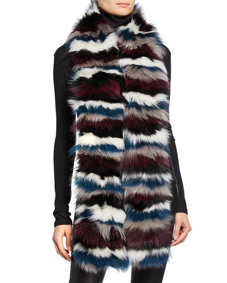 Striped Fox Fur Scarf
