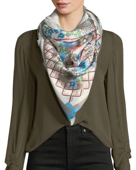 Fendi Floral Logo Silk-Wool Fringe Scarf