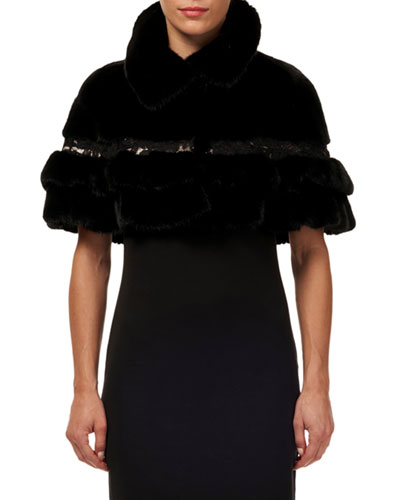 Mink & Fox Fur Ruffled Capelet w/ Leather and Lace Trim