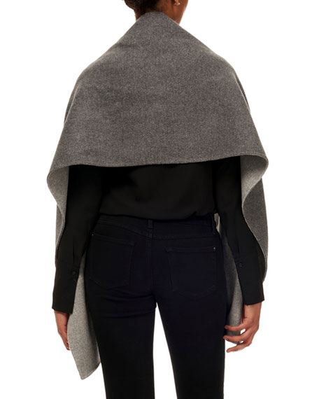 Gorski Wool Stole w/ Fur Patch Pockets