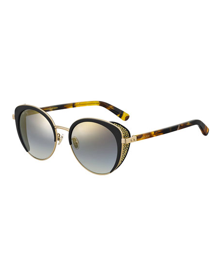 Jimmy Choo Gabby Mirrored Metal & Acetate Cat-Eye