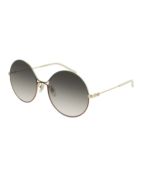 Gucci Metal Web-Front Round Sunglasses