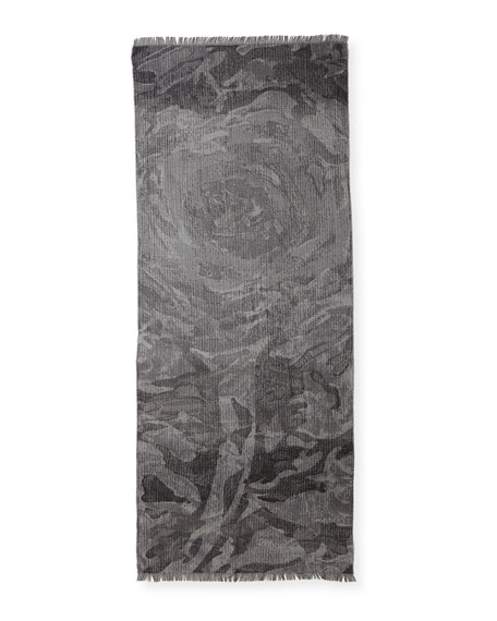 Eileen Fisher Striated Floral Jacquard Scarf