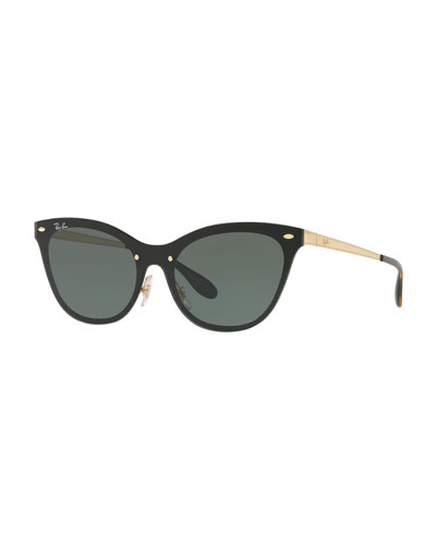 Monochromatic Shield Cat-Eye Sunglasses