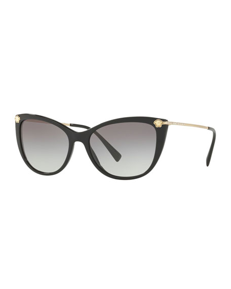 Versace Gradient Cat-Eye Sunglasses w/ Crystal Trim
