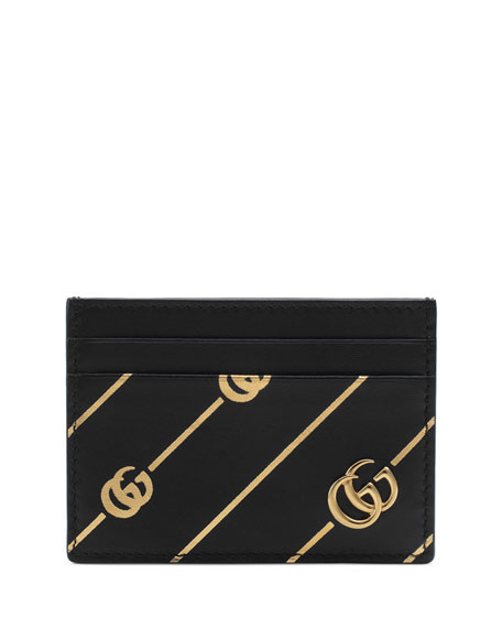 Gucci Bags GG Diagonal-Stripe Leather Card Case