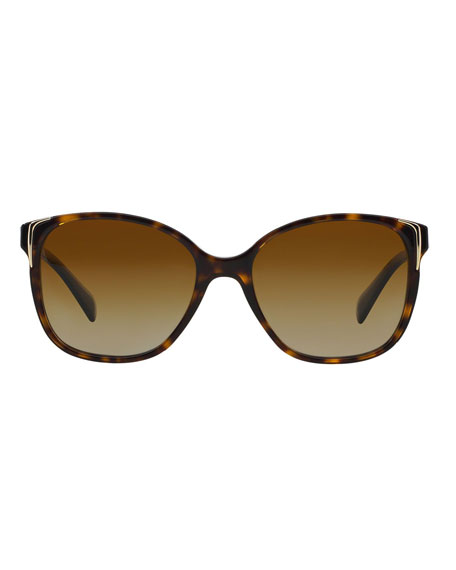 Prada Square Gradient Arrow-Edge Sunglasses, Black