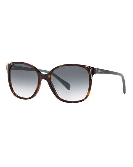 Prada Square Gradient Arrow-Edge Sunglasses, Black