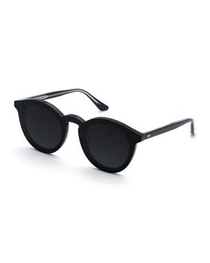123b2ab0821 KREWE Collins Round Monochromatic Acetate Sunglasses w  Nylon Overlay Lens