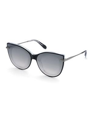 6b278407333 KREWE Laveau Cat-Eye Acetate Sunglasses w  Nylon Mirrored Overlay Lenses