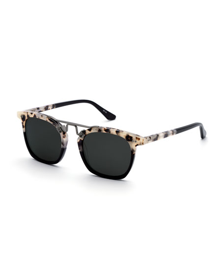 KREWE Lafayette Rectangle Acetate & Metal Sunglasses