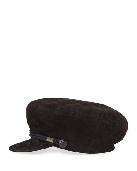 Saint Laurent Suede Newsboy Hat w/ Rope Front
