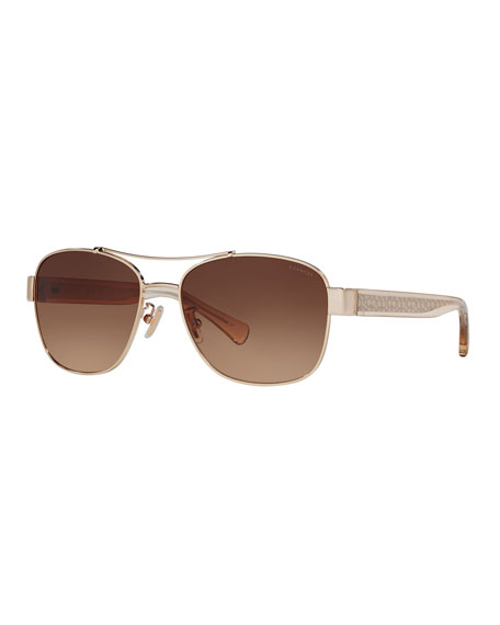 Coach Metal & Acetate Aviator Sunglasses w/ Logo Arms