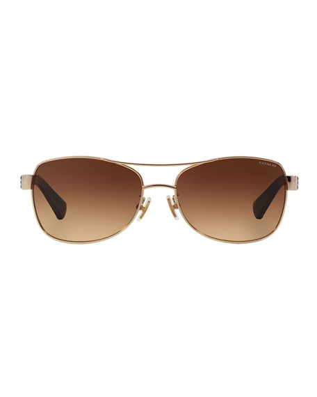 Coach Metal Aviator Sunglasses w/ Textured Acetate Arms