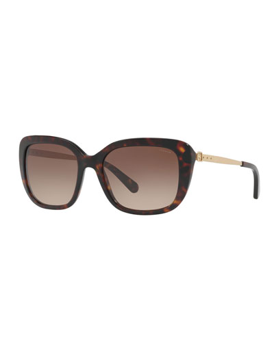 Square Acetate Sunglasses w/ Metal Buckle Arms