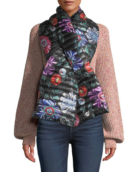 THINK ROYLN Reversible Floral Pull-Through Puffer Scarf in Black Floral