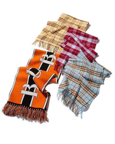 Burberry Football Text Logo Cashmere Knitted Scarf