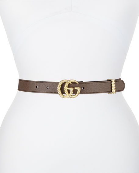 Gucci GG Marmont Leather Belt w/ Textured GG