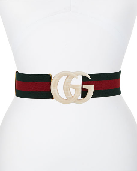 Gucci Elastic Web Belt w/ Piccadilly Moon Plexiglass Double-G Buckle