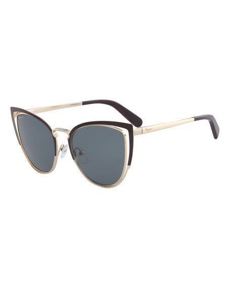 Salvatore Ferragamo Colorblock Cutout Cat-Eye Sunglasses